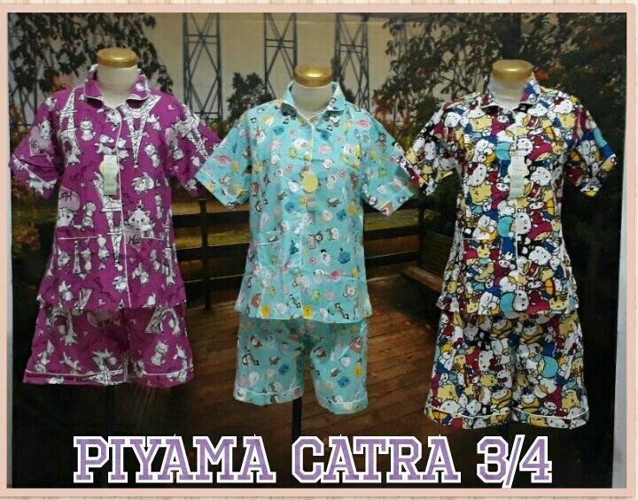 Grosir Murah di Surabaya Supplier Piyama Katun Catra Dewasa 3/4 Murah Surabaya 55Ribu