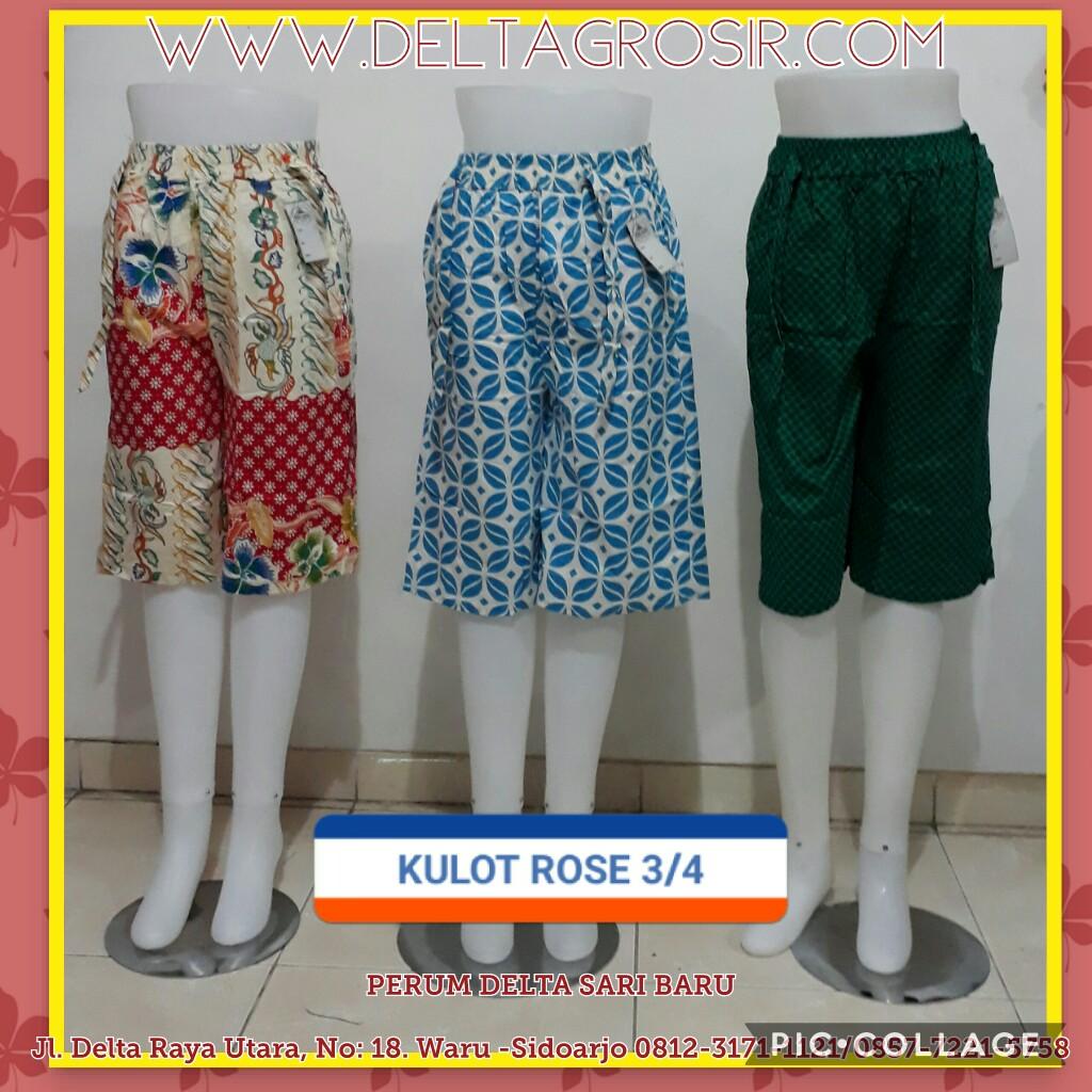 Grosir Murah di Surabaya Supplier Celana Kulot Rose 3/4 Wanita Dewasa Murah Surabaya 27Ribu