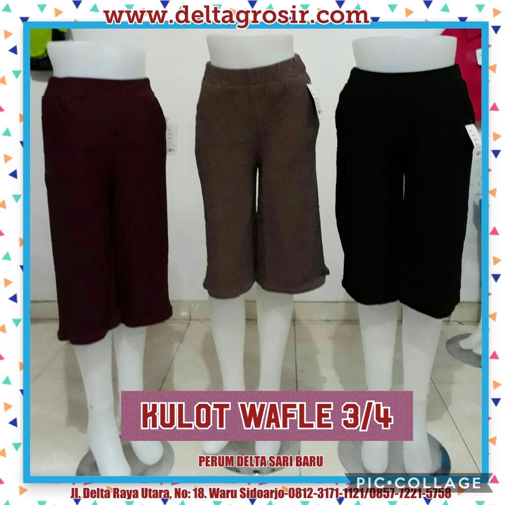 Grosir Murah di Surabaya Produsen Celana Kulot Waffle 3/4 Wanita Dewasa Murah 26Ribu