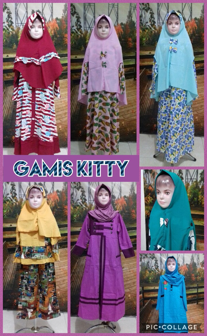Grosir Murah di Surabaya Distributor Gamis Kitty Anak Perempuan Syar'i Murah Surabaya 76Ribu
